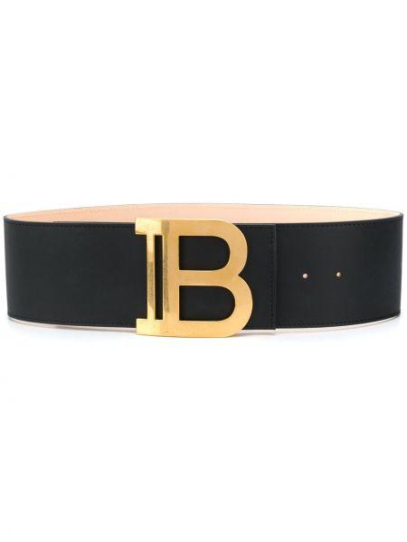 Золотистый кожаный черный ремень с поясом Balmain