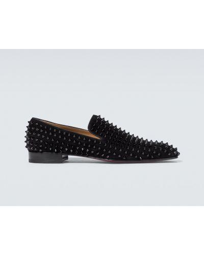Czarny loafers z prawdziwej skóry z kolcami Christian Louboutin