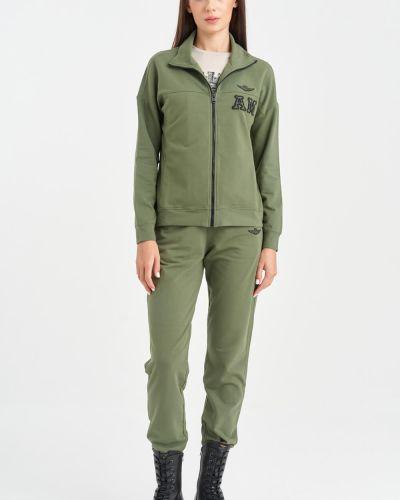 Зеленый спортивный костюм с надписью Aeronautica Militare