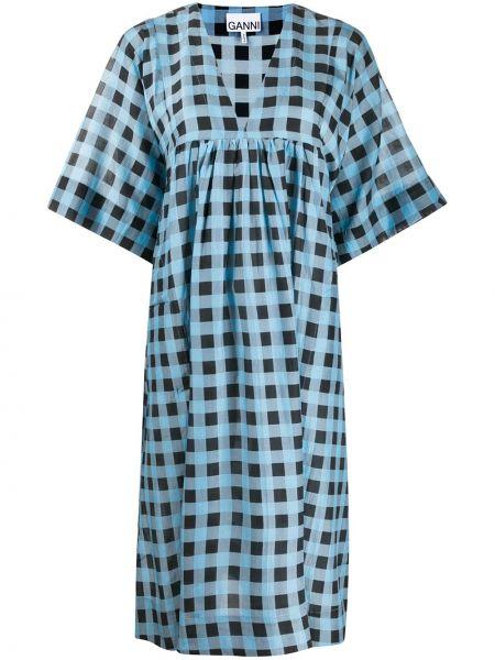Синее шелковое платье миди с V-образным вырезом с короткими рукавами Ganni