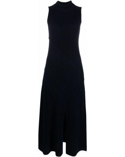 Трикотажное синее платье миди без рукавов Vince.