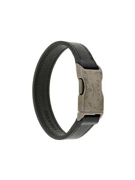 Czarna bransoletka skórzana klamry Prada