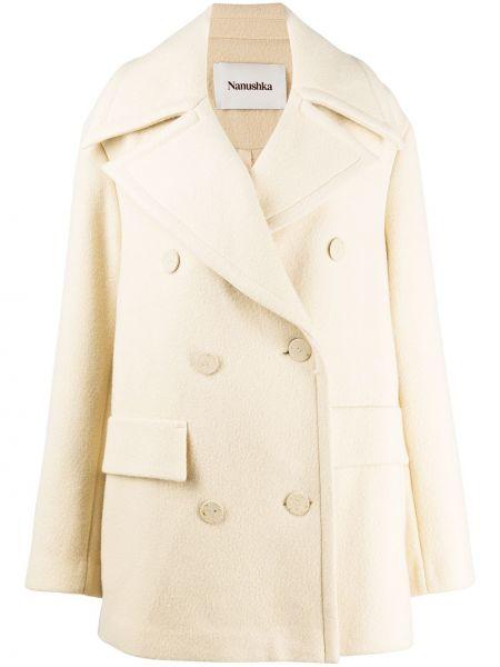 Шерстяное длинное пальто на пуговицах двубортное Nanushka