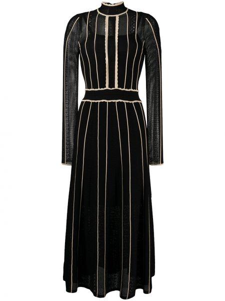 Расклешенное черное платье миди с длинными рукавами Sandro Paris
