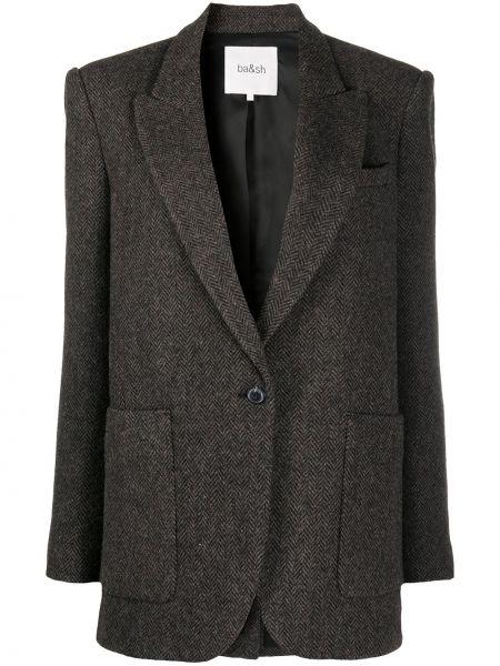 Шерстяной темно-коричневый пиджак с карманами с лацканами Ba&sh