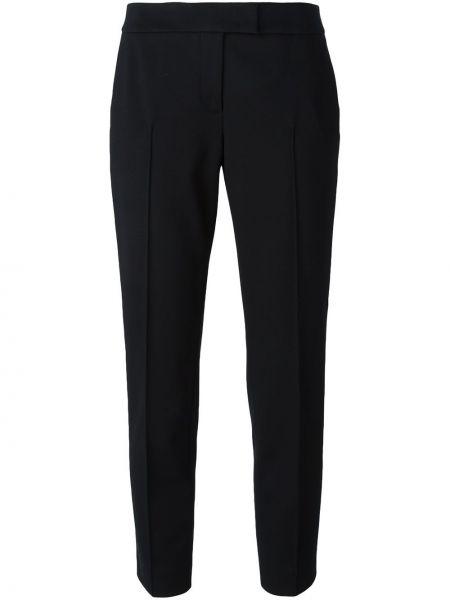 Черные укороченные брюки с поясом из вискозы Akris Punto