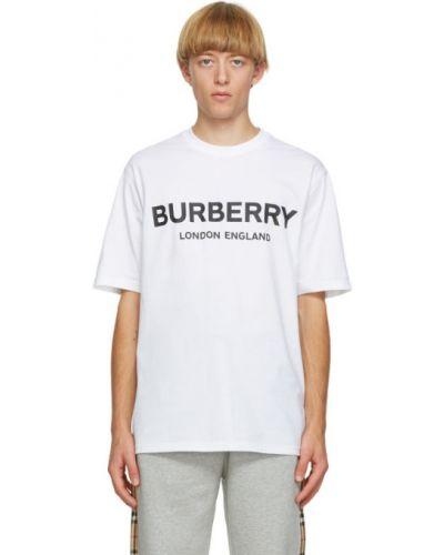 Bawełna biały koszula z krótkim rękawem z kołnierzem krótkie rękawy Burberry