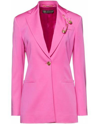 Шерстяной розовый пиджак с карманами Versace