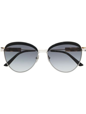 Черные солнцезащитные очки круглые металлические Calvin Klein