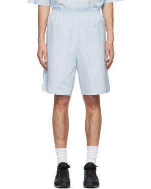 Хлопковые синие короткие шорты на резинке до середины колена Camiel Fortgens