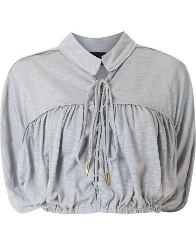 Z rękawami bluzka z falbankami z kołnierzem Andrea Bogosian