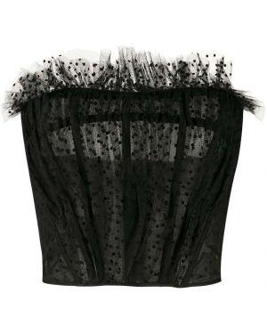 Czarny crop top w grochy tiulowy Philosophy Di Lorenzo Serafini