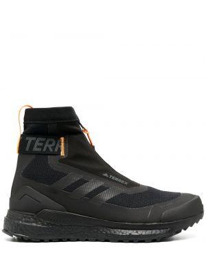 Черные высокие кроссовки на молнии сетчатые из неопрена Adidas