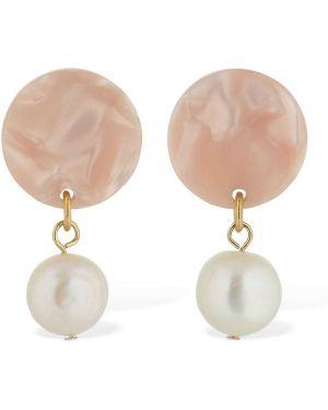 Różowe kolczyki sztyfty perły srebrne Aym