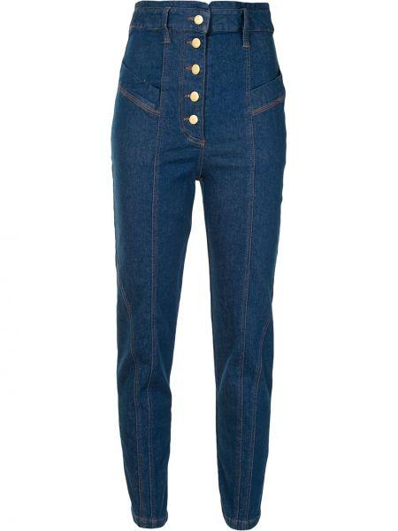 Хлопковые синие с завышенной талией джинсы на пуговицах Manning Cartell