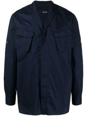 Niebieska klasyczna koszula bawełniana z długimi rękawami Lardini
