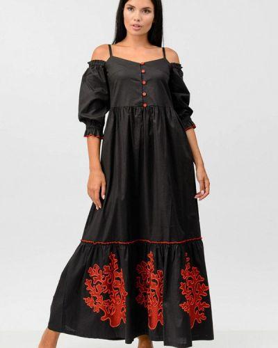 Платье с открытыми плечами - черное Raslov