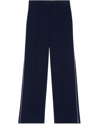Прямые синие спортивные брюки с поясом Maje