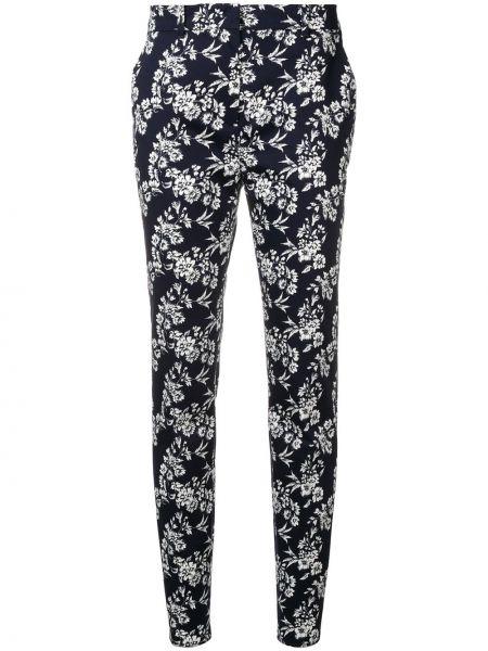 Хлопковые синие брюки с карманами узкого кроя Max Mara Studio