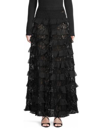 Шелковая юбка - черная Longchamp