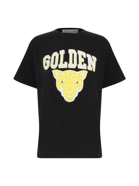 Czarna koszulka bawełniana Golden Goose