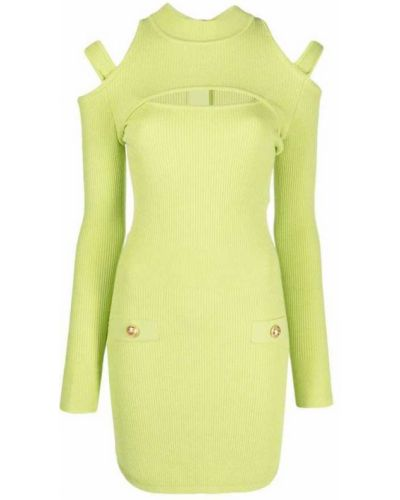 Zielona sukienka midi z długimi rękawami Balmain