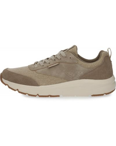 Бежевые кожаные кроссовки на шнуровке Demix