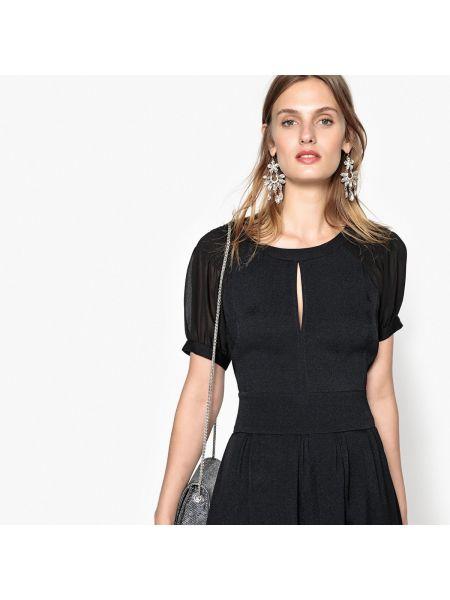 Черное платье мини с вырезом с короткими рукавами из вискозы See U Soon