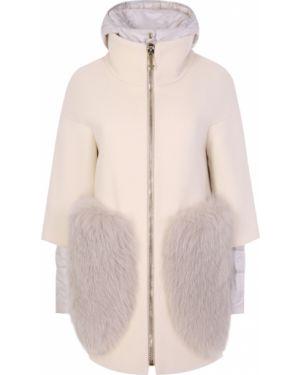 Пальто с капюшоном на молнии шерстяное Montecore