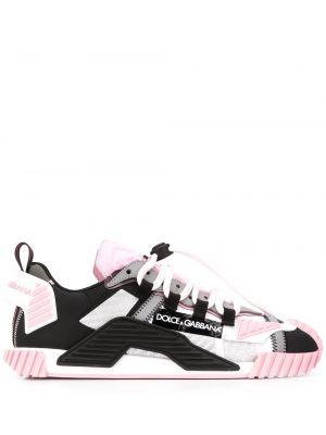 Розовые кроссовки на шнуровке круглые с круглым вырезом Dolce & Gabbana