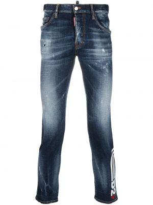 Хлопковые синие укороченные джинсы с низкой посадкой Dsquared2