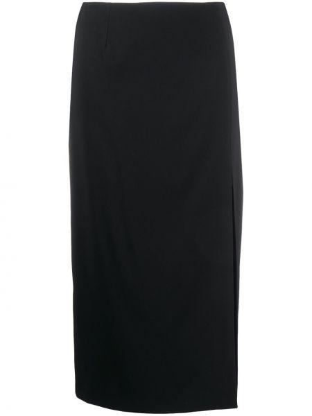 Черная с завышенной талией юбка миди на молнии с разрезом Redvalentino