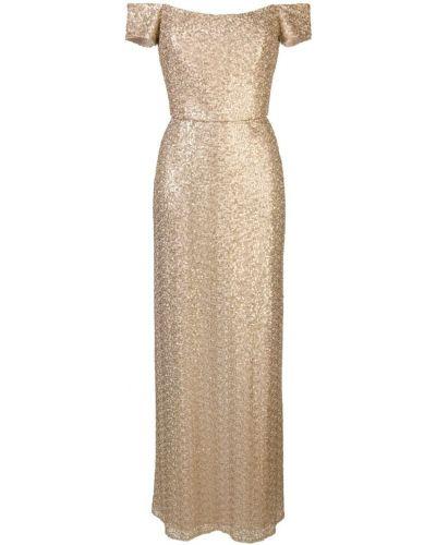 Вечернее открытое желтое приталенное вечернее платье Amsale