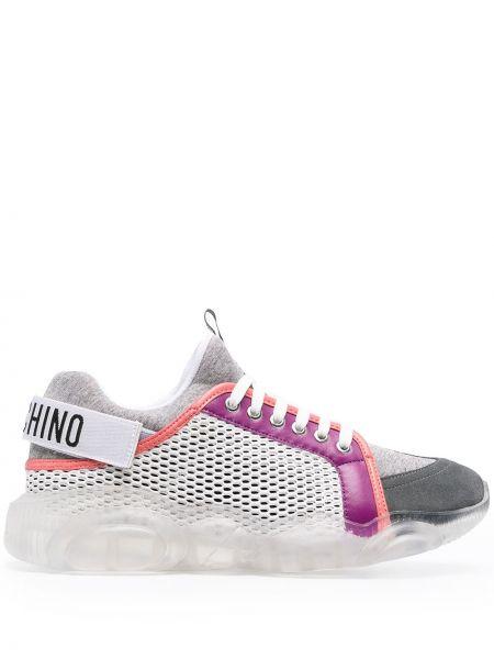 Koronkowa skórzany sneakersy na sznurowadłach okrągły Moschino