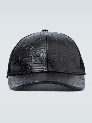 Skórzany baseball czarny kapelusz siatkowaty Gucci