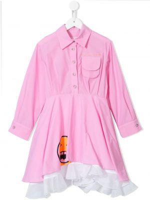 Розовое платье с рукавами на пуговицах Natasha Zinko Kids