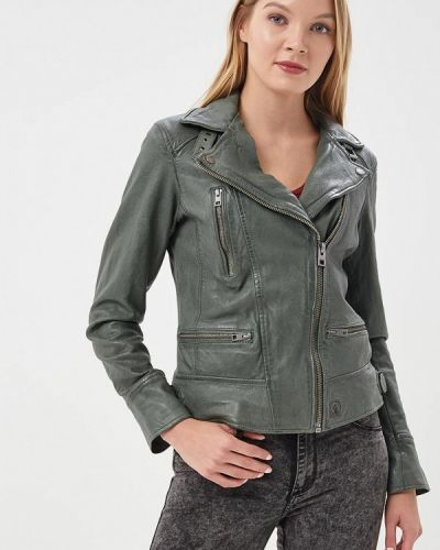 Кожаная куртка весенняя зеленая Oakwood