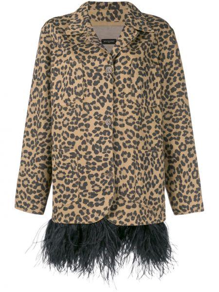 Коричневый пиджак с карманами с перьями Simonetta Ravizza