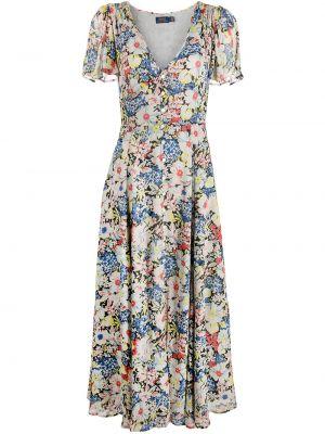 Платье макси короткое - синее Polo Ralph Lauren