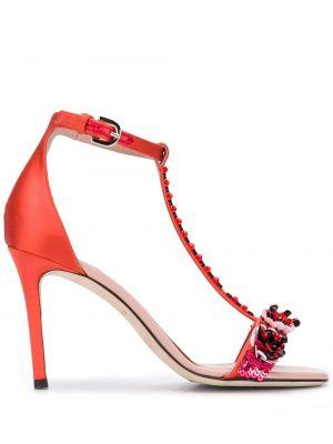 Sandały skórzane na obcasie - różowe Emilio Pucci