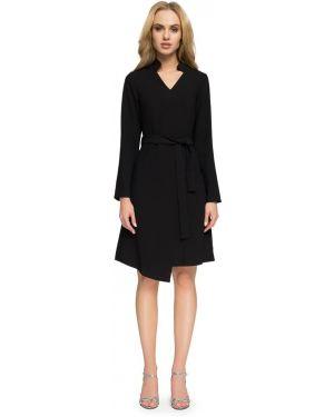 Czarna sukienka na co dzień z paskiem Stylove