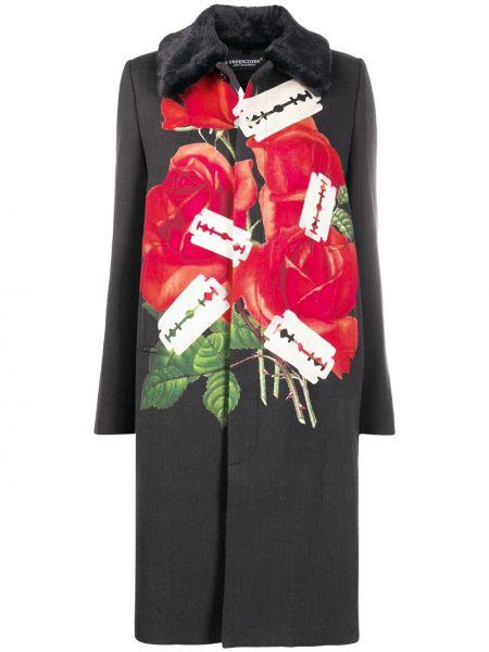 Шерстяное черное длинное пальто Undercover
