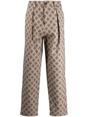 Хлопковые бежевые брюки с карманами Pierre-louis Mascia