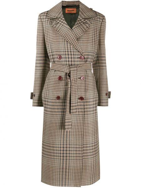 Коричневое шерстяное длинное пальто двубортное Missoni