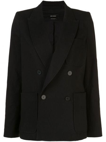 Черный пиджак двубортный с карманами Isabel Marant