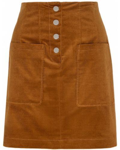 Бежевая юбка мини с карманами на пуговицах металлическая Hugo Boss