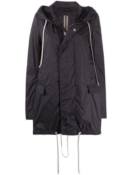 Черная длинное пальто с капюшоном с воротником Rick Owens Drkshdw