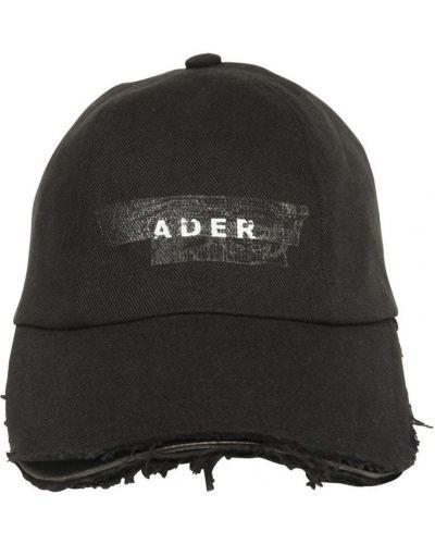 Czarna czapka bawełniana z printem Ader Error