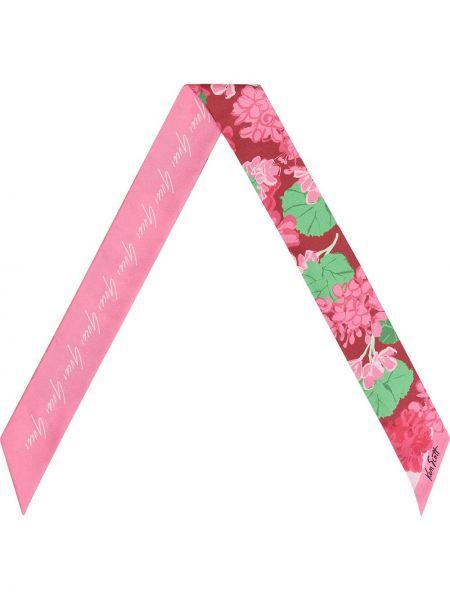 Jedwab różowy szalik wzór w kwiaty wąskie cięcie Gucci