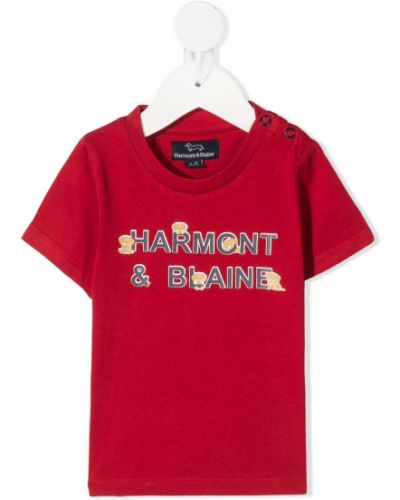 Хлопковая красная футболка круглая с круглым вырезом Harmont & Blaine Junior